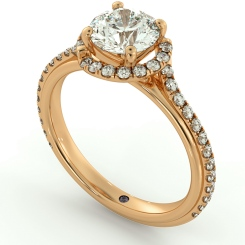 HRRSD693 Crossover Round cut Halo Diamond Ring - rose