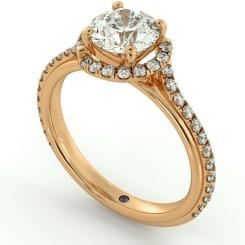 HRRSD693 Crossover Round cut Halo Diamond Ring - rose