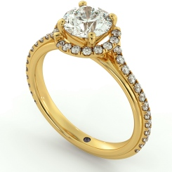 HRRSD693 Crossover Round cut Halo Diamond Ring - yellow