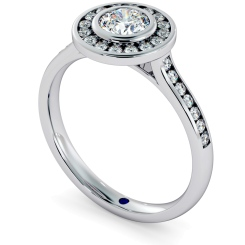 HRRSD696 Round cut Channel set Single Halo Diamond Ring - white