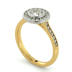HRRSD696 Round cut Channel set Single Halo Diamond Ring - yellow