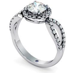 HRRSD697 Art Deco Round cut Halo Diamond Ring - white