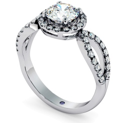 HRRSD697 Art Deco Round cut Halo Diamond Ring - white