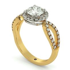 HRRSD697 Art Deco Round cut Halo Diamond Ring - yellow