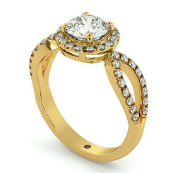 HRRSD697 Art Deco Round cut Halo Diamond Ring - yellow