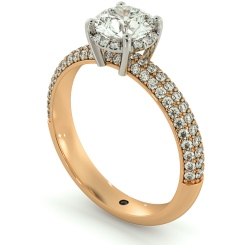 HRRSD698 Micro Pave set 3 Rows Round cut Halo Diamond Ring - rose