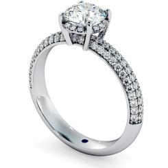 HRRSD698 Micro Pave set 3 Rows Round cut Halo Diamond Ring - white