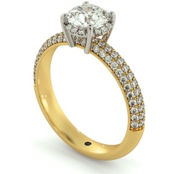 HRRSD698 Micro Pave set 3 Rows Round cut Halo Diamond Ring - yellow