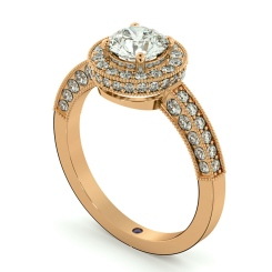 HRRSD699 Exquisite Vintage Round cut Halo Diamond Ring - rose