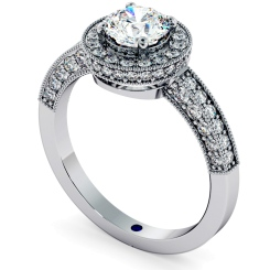 HRRSD699 Exquisite Vintage Round cut Halo Diamond Ring - white