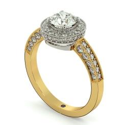 HRRSD699 Exquisite Vintage Round cut Halo Diamond Ring - yellow