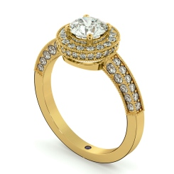 HRRSD699 Exquisite Vintage Round cut Halo Diamond Ring - yellow