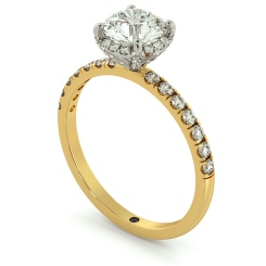 HRRSD700 Round cut Studded Prongs Halo Diamond Ring - yellow