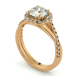 HRRSD701 Studded Twisted Shank Round cut Halo Diamond Ring - rose