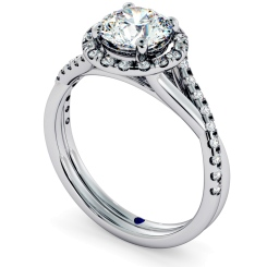 HRRSD701 Studded Twisted Shank Round cut Halo Diamond Ring - white