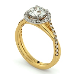 HRRSD701 Studded Twisted Shank Round cut Halo Diamond Ring - yellow