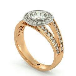 HRRSD702 Split Shank Bezel set Round cut Halo Diamond Ring - rose