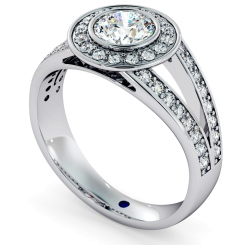 HRRSD702 Split Shank Bezel set Round cut Halo Diamond Ring - white