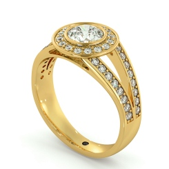HRRSD702 Split Shank Bezel set Round cut Halo Diamond Ring - yellow