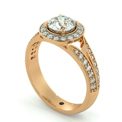 HRRSD703 Flowering Split Shank Round cut Halo Diamond Ring - rose