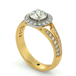 HRRSD703 Flowering Split Shank Round cut Halo Diamond Ring - yellow