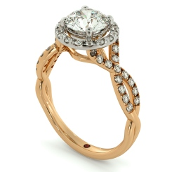 HRRSD704 Pave Infinity Band Round cut Halo Diamond Ring - rose
