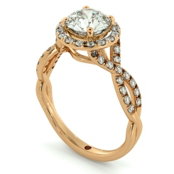 HRRSD704 Pave Infinity Band Round cut Halo Diamond Ring - rose