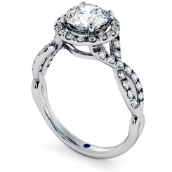 HRRSD704 Pave Infinity Band Round cut Halo Diamond Ring - white