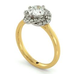 HRRSD706 Pave set Infinity Halo Round cut Diamond Ring - yellow