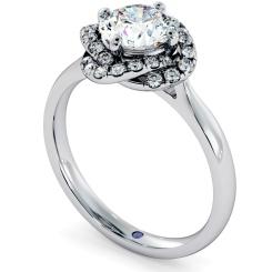 HRRSD706 Pave set Infinity Halo Round cut Diamond Ring - white