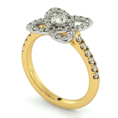 HRRSD726 Lotus Motif Halo Diamond Ring - yellow