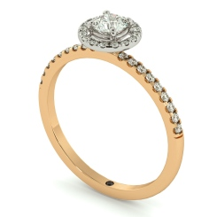 HRRSD735 Round cut High set Halo Diamond Ring - rose