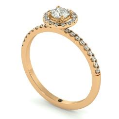 HRRSD735 Round cut High set Halo Diamond Ring - rose