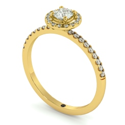 HRRSD735 Round cut High set Halo Diamond Ring - yellow