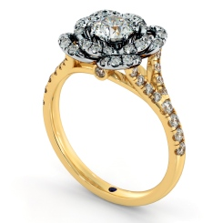 HRRSD736 Round cut Flowered Halo Diamond Ring - yellow