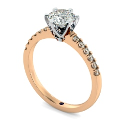 HRRSD797 Round Shoulder Diamond Ring - rose