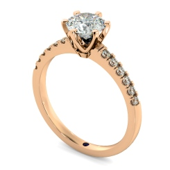 HRRSD797 Round Shoulder Diamond Ring - rose
