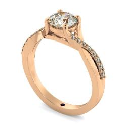 HRRSD798 Round Shoulder Diamond Ring - rose