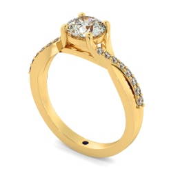 HRRSD798 Round Shoulder Diamond Ring - yellow