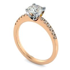 HRRSD799 Round Shoulder Diamond Ring - rose