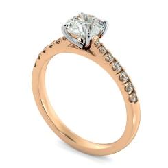HRRSD801 Round Shoulder Diamond Ring - rose