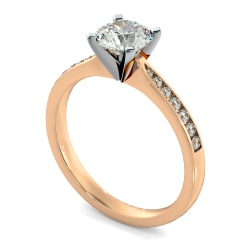 HRRSD802 Round Shoulder Diamond Ring - rose