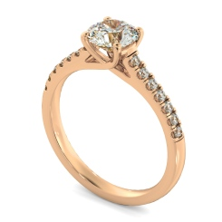 HRRSD804 Round Shoulder Diamond Ring - rose