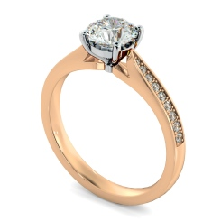 HRRSD805 Round Shoulder Diamond Ring - rose