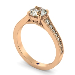 HRRSD807 Round Shoulder Diamond Ring - rose