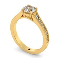 HRRSD807 Round Shoulder Diamond Ring - yellow