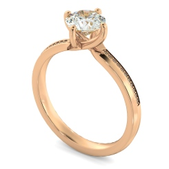 HRRSD808 Round Shoulder Diamond Ring - rose