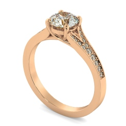 HRRSD809 Round Shoulder Diamond Ring - rose