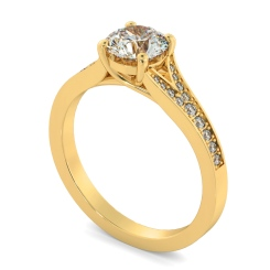 HRRSD809 Round Shoulder Diamond Ring - yellow