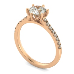 HRRSD810 Round Shoulder Diamond Ring - rose